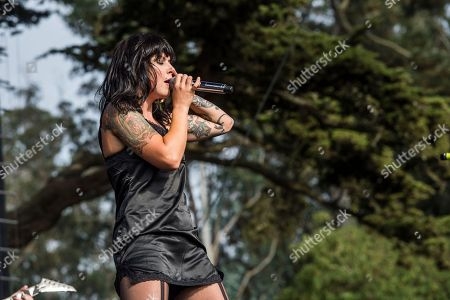 Alexis Krauss of Sleigh Bells performs at the 2017 Outside Lands Music Festival at Golden Gate Park, in San Francisco, Calif