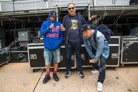 Keith Thornton, Kool Keith, Dan the Automator, Dan Nakamura, Roy Choi Kool Keith, from left, and Dan the Automator of Dr. Octagon pose with Roy Choi at 2017 Outside Lands Music Festival at Golden Gate Park, in San Francisco, Calif