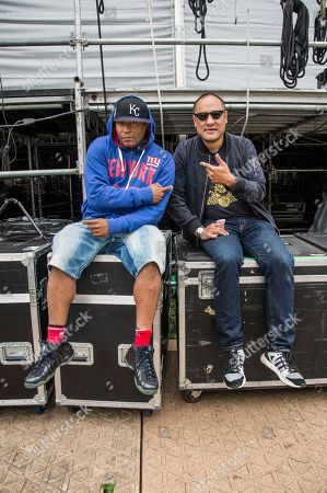 Stock Picture of Keith Thornton, Kool Keith, Dan the Automator, Dan Nakamura Kool Keith, left, and Dan the Automator of Dr. Octagon pose at 2017 Outside Lands Music Festival at Golden Gate Park, in San Francisco, Calif