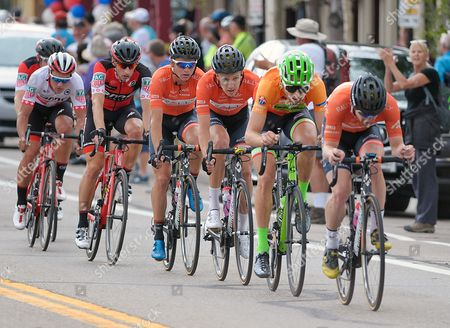 Breckenridge, Colorado, U.S. - Cannondale Drapac's, Taylor Phinney (green helmet), wears the race's Most Aggressive Rider's jersey during the second stage of the inaugural Colorado Classic cycling race, Breckenridge, Colorado