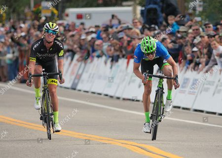 Breckenridge, Colorado, U.S. - After leading for the entire stage, Holowesko/Citadel's, T.J. Eisenhart, realizes that Cannondale's, Alex Howes, has won the second stage of the inaugural Colorado Classic cycling race, Breckenridge, Colorado