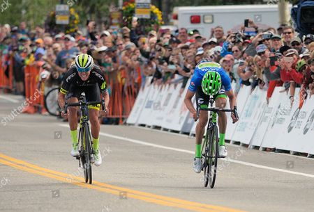Breckenridge, Colorado, U.S. - Holowesko/Citadel's, T.J. Eisenhart, and Cannondale's, Alex Howes, sprint for the finish during the second stage of the inaugural Colorado Classic cycling race, Breckenridge, Colorado