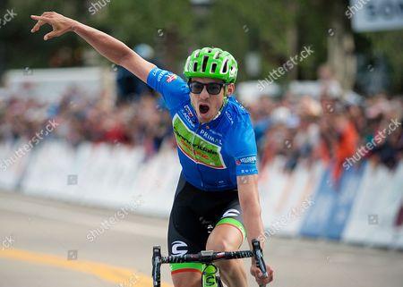 Breckenridge, Colorado, U.S. - Cannondale's, Alex Howes, celebrates his victory in the second stage of the inaugural Colorado Classic cycling race, Breckenridge, Colorado