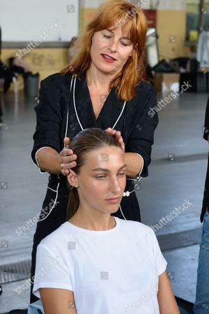 Stylist Marianne Jensen for Kevin Murphy Denmark with model backstage
