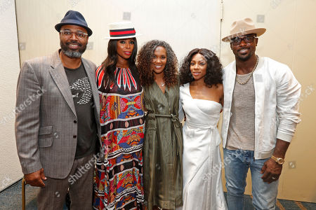 """Salim Akil, Tasha Smith, Mara Brock Akil, Niatia """"Lil' Mama"""" Kirkland, and Lance Gross pose before the screening of """"When Love Kills: The Falicia Blakely Story"""" at the NABJ convention at Hilton New Orleans Riverside on in New Orleans, La"""