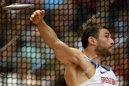 Stock Image of Ashley Bryant of Great Britain competes in the Discus Throw event of the Decathlon at the London 2017 IAAF World Championships in London, Britain, 12 August 2017.