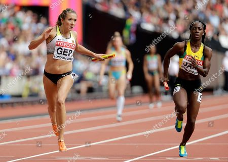 Germany's Rebekka Haase crosses the line to win a Women's 4x100m relay heat during the World Athletics Championships in London