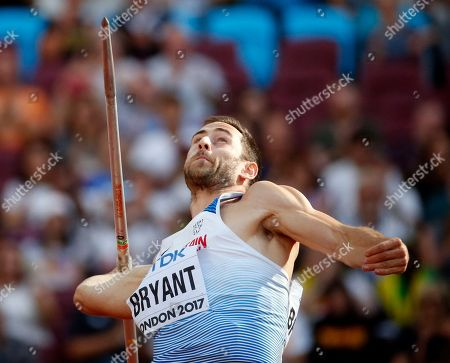Britain's Ashley Bryant makes an attempt in the javelin event of the decathlon, during the World Athletics Championships in London