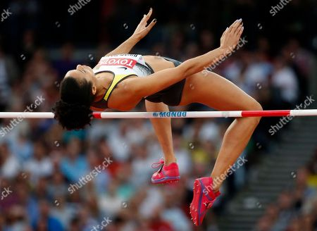 Germany's Marie-Laurence Jungfleisch makes an attempt in the women's high jump final during the World Athletics Championships in London
