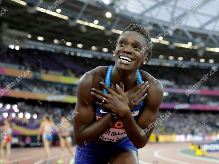 United States' Dawn Harper Nelson celebrates after winning the silver medal in the women's 100-meter hurdles final during the World Athletics Championships in London