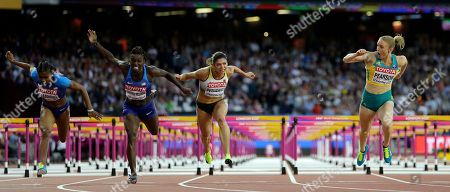 Australia's Sally Pearson, right, crosses the line to win the gold medal in the final of the Women's 100m hurdles during the World Athletics Championships in London . United States' Dawn Harper Nelson, second left, took silver and Germany's Pamela Dutkiewicz, center, took bronze