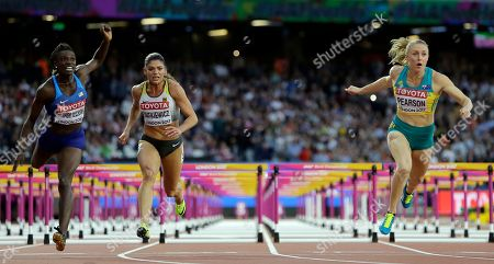 Australia's Sally Pearson, right, crosses the line to win the gold medal in the final of the Women's 100m hurdles during the World Athletics Championships in London . United States' Dawn Harper Nelson, left, took silver and Germany's Pamela Dutkiewicz, center, took bronze