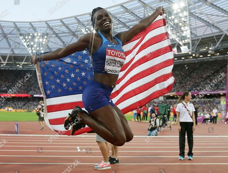 United States' Dawn Harper Nelson reacts after winning silver in the women's 100 m hurdles race during the World Athletics Championships in London
