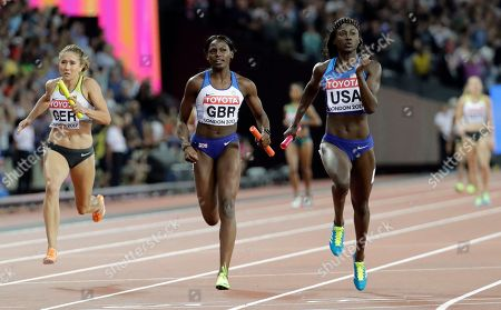 United States', Tori Bowie, right, winning the gold medal in the women's 4x100-meter final during the World Athletics Championships in London