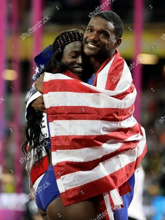 United States Justin Gatlin embraces Tori Bowie after the Men's 4x100m relay final in which the US took the silver medal during the World Athletics Championships in London