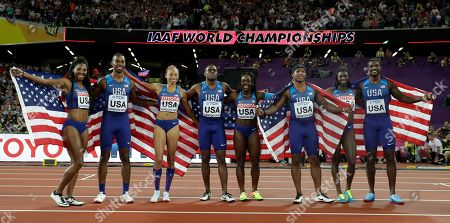 From left, United States' 4x100 men's and women's relay teams Aaliyah Brown, Jaylen Bacon, Allyson Felix, Christian Coleman, Morolake Akinosun, Mike Rodgers, Tori Bowie and Justin Gatlin during the World Athletics Championships in London