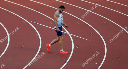Ashley Bryant of Great Britain during the Decathlon Men's Javelin