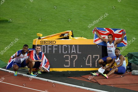 Stock Picture of Nethaneel Mitchell-Blake, Daniel Talbot, Adam Gemili and Chijindu Ujah of Great Britain after winning Gold in the Men's 4x100 meters relay finals