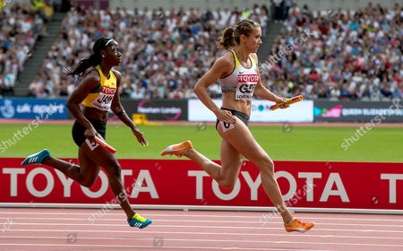 Women's 4x100m Relay Heats. Germany's Rebekka Haase anchors the last leg of their heat