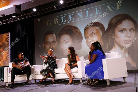 """Stock Picture of Lamman Rucker, Lynn Whitfield, Merle Dandridge, Kelley Carter Lamman Rucker, left, Lynn Whitfield, second left, Merle Dandridge of """"Greenleaf"""" and moderator Kelley Carter, right, of ESPN's The Undefeated, speak at the Arts & Entertainment Task Force Reception during the 2017 National Association of Black Journalists conference on in New Orleans"""