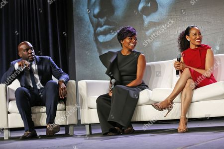 """Omar J. Dorsey, Tina Lifford, Dawn-Lyen Gardner Omar J. Dorsey, left, Tina Lifford, center, and Dawn-Lyen Gardner of """"Queen Sugar"""" speak at the Arts & Entertainment Task Force Reception during the 2017 National Association of Black Journalists conference on in New Orleans, La"""