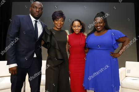 """Omar J. Dorsey, Tina Lifford, Dawn-Lyen Gardner, Kelley Carter Omar J. Dorsey, left, Tina Lifford, second from left, Dawn-Lyen Gardner of """"Queen Sugar"""" and Kelley Carter, right, of ESPN's The Undefeated pose for a photograph at the Arts & Entertainment Task Force Reception during the 2017 National Association of Black Journalists conference on in New Orleans"""
