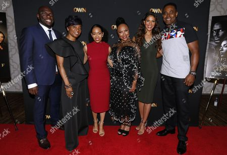"""Stock Photo of Omar J. Dorsey, Tina Lifford, Dawn-Lyen Gardner, Lynn Whitfield, Merle Dandridge, Lamman Rucker From left, Omar J. Dorsey, Tina Lifford, Dawn-Lyen Gardner of """"Queen Sugar"""", and Lynn Whitfield, Merle Dandridge and Lamman Rucker of """"Greenleaf"""" pose for a photograph at the Arts & Entertainment Task Force Reception during the 2017 National Association of Black Journalists conference on in New Orleans"""