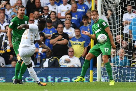 Leeds United midfielder Ronaldo Vieira (25) takes shot at goal stopped by Preston North End defender Tommy Spurr (17)  during the EFL Sky Bet Championship match between Leeds United and Preston North End at Elland Road, Leeds