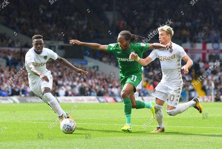 Leeds United midfielder Ronaldo Vieira (25), Preston North End midfielder Daniel Johnson (11) and Leeds United player Ezgjan Aioski (10)  during the EFL Sky Bet Championship match between Leeds United and Preston North End at Elland Road, Leeds