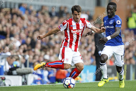 Stoke City Bojan Krkic (27) and Idrissa Gueye (17) of Everton during the Premier League match between Everton and Stoke City at Goodison Park, Liverpool