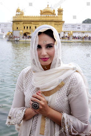 Bollywood actor Huma Qureshi poses for photographs as she visits the Golden Temple, the holiest of Sikh shrines in Amritsar, India, 12 August 2017. Huma Qureshi and British Director Gurinder Chadha are in Amritsar to promote their upcoming movie, Partition: 1947. Directed by Gurinder Chadha, the movie is scheduled to release all over India in Hindi as 'Partition: 1947' and in English as 'Viceroy's House', 18 August 2017. The movie is based on the story of the partition of India in the year 1947.