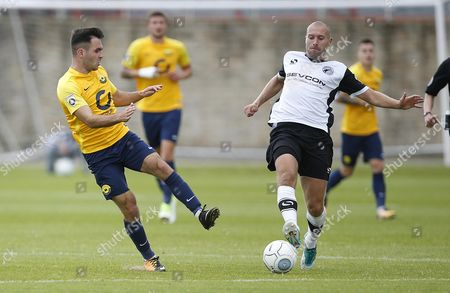 Torquay United player Jake Gosling stretches for the ball during the English National League game between Gateshead and Torquay United at Gateshead International Stadium on Aug 12