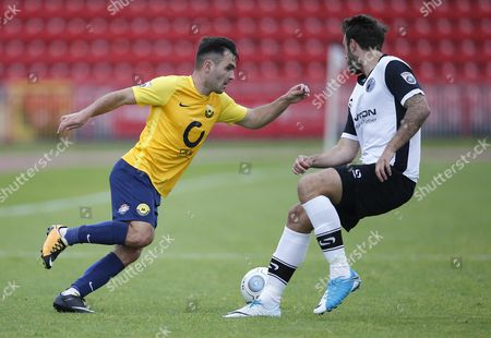 Torquay United player Jake Gosling cuts inside during the English National League game between Gateshead and Torquay United at Gateshead International Stadium on Aug 12