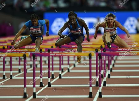 Christina Manning of USA, Pamela Dutkiewicz of Germany, Dr Dawn Harper Nelsonof USA compete in the 100 meter hurdles final in London at the 2017 IAAF World Championships athletics.