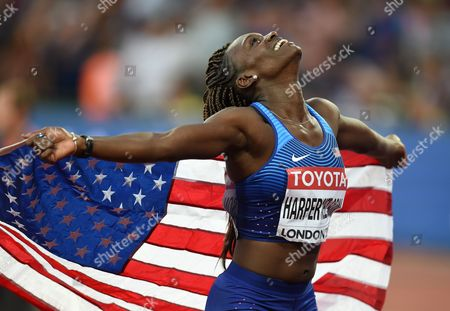 Silver medal winner  Dr Dawn Harper Nelsonof USA, celebrating in the 100 meter hurdles final in London at the 2017 IAAF World Championships athletics.