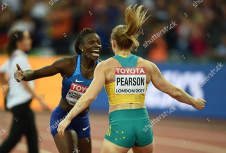 Sally Pearson of Australia, and Dr Dawn Harper Nelsonof USA, celebrating in the 100 meter hurdles final in London at the 2017 IAAF World Championships athletics.