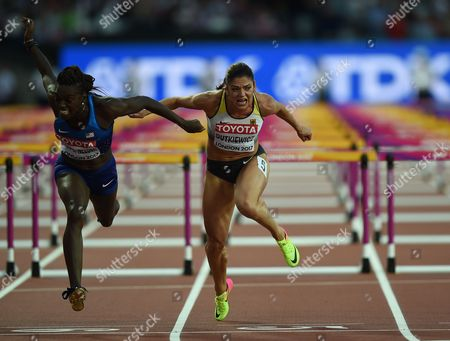 Pamela Dutkiewicz of Germany,   Dr Dawn Harper Nelsonof USA compete in the 100 meter hurdles final in London at the 2017 IAAF World Championships athletics.