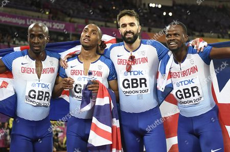 (from left) Dwayne Cowan, Matthew Hudson-Smith, Martyn Rooney and Rabah Yousif of Great Britain celebrate after placing third in the men's 4x400m Relay final at the London 2017 IAAF World Championships in London, Britain, 13 August 2017.