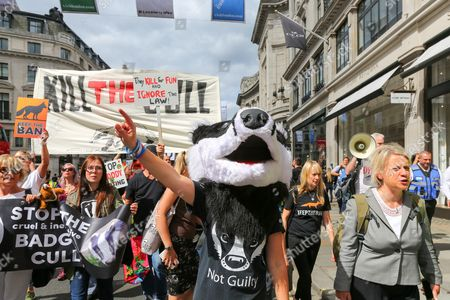 Stock Photo of A demonstrator in a badger mask next to former Green Party Leader Natalie Bennett