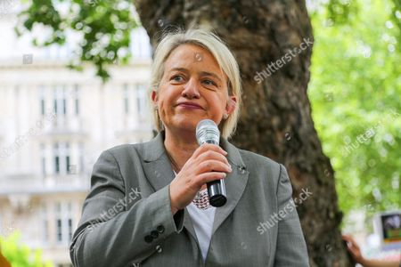 Former Green Party Leader Natalie Bennett speaks at the demonstration