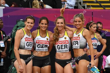 4x400m Staffel Frauen ,Svea Köhrbrück,  Nadine Gonska, Laura Müller, Ruth Sophie Spelmeyer,