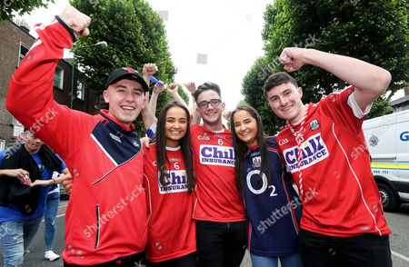Cork vs Waterford. Cork fans Andrew McCarthy, Aoife Mulligan, Darragh Kelly, Aine Mulligan and Colm Kiely from Douglas, Co. Cork