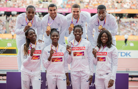 (L-R) Chijindu Ujah, Adam Gemili, Daniel Talbot and Nethaneel Mitchell-Blake of Great Britain, gold, pose with their medals for the Men's 4x100 Metres Relay with (L-R) Asha Philip, Desiree Henry, Dina Asher-Smith and Daryll Neita of Great Britain, silver, for the Women's 4x100 Metres