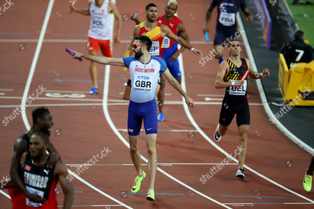 Martyn Rooney of Great Britain celebrates with a Bronze after the Men's 4x400 meters relay final