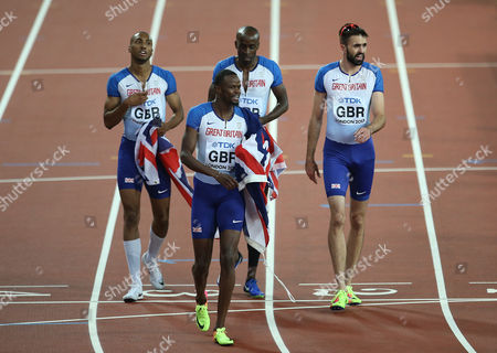 Matthew Hudson-Smith, Dwayne Cowan Rabah Yousif and Martyn Rooney of Great Britain celebrates with a Bronze after the Men's 4x400 meters relay final