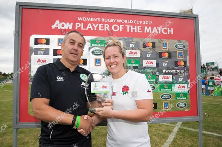 England vs Italy. CEO of talent practice at AON Michael Burke presents Marlie Packer of England with the player of the match award