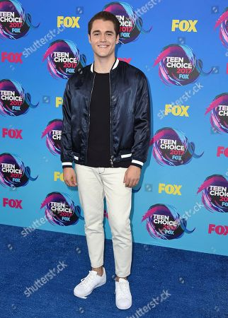 Charlie DePew arrives at the Teen Choice Awards at the Galen Center, in Los Angeles