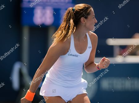 Mariana Duque-Marino of Colombia in action during her second qualification round match at the 2017 Western & Southern Open WTA Premier 5 tennis tournament