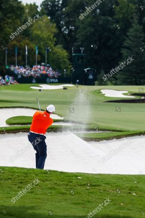 D. A. Points lays up out of the sand on the seventh hole during the final round of the 99th PGA Championship at Quail Hollow Club in Charlotte, NC