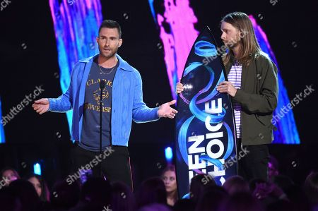 Adam Levine, James Valentine Adam Levine, left and James Valentine of Maroon 5, accept the decade award at the Teen Choice Awards at the Galen Center, in Los Angeles